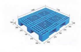 Jual Pallet Plastik Baru dan Bekas Ukuran 1100 mm x 1400 mm x 150 mm